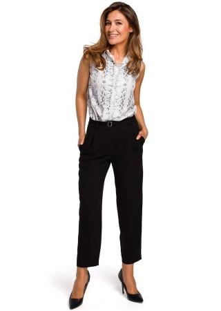 Elegantas plata piegriezuma bikses melnas S187-black Style Bikses, Legingi, Šorti Greetha