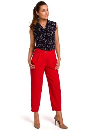 Elegantas plata piegriezuma bikses sarkanas S187-red Style Bikses, Legingi, Šorti Greetha