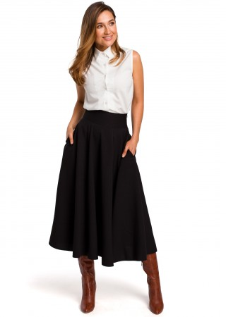Eleganti kupli svārki melni S196-black Style Svārki Greetha