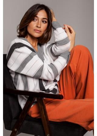 Stilīgs džemperis ar svītrām S218-grey Style Džemperi, Jakas Greetha