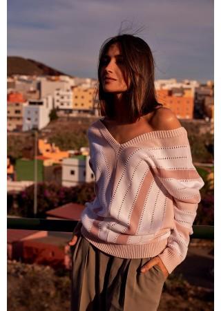 Stilīgs džemperis ar svītrām S218-pink Style Džemperi, Jakas Greetha