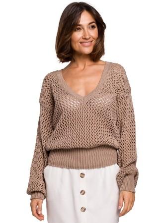 Adīts džemperis bēšs S219-beige Style Džemperi, Jakas Greetha