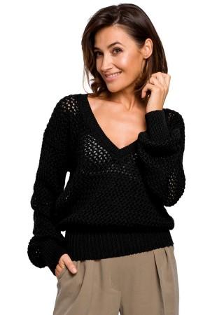 Adīts džemperis melns S219-black Style Džemperi, Jakas Greetha