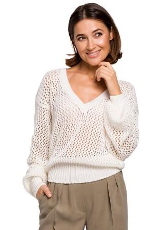 Adīts džemperis balts S219-ecru Style Džemperi, Jakas Greetha