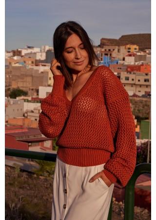 Adīts džemperis oranžs S219-orange Style Džemperi, Jakas Greetha