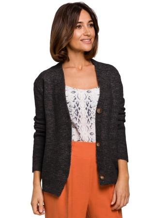 Ērta adīta jaka pelēka S221-grey Style Džemperi, Jakas Greetha