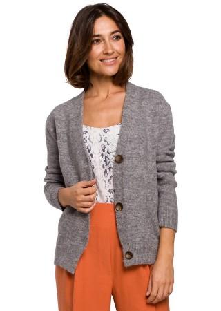 Ērta adīta jaka gaiši pelēka S221-light grey Style Džemperi, Jakas Greetha
