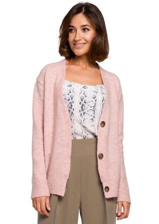 Ērta adīta jaka rozā S221-pink Style Džemperi, Jakas Greetha