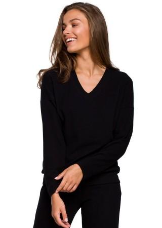 Mīksts svīteris melns S246-black Style Džemperi, Puloveri, Jakas Greetha
