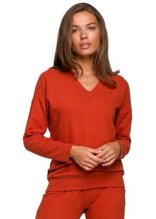 Mīksts svīteris oranžs S246-ginger Style Džemperi, Puloveri, Jakas Greetha