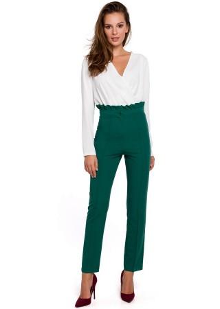 Bikses ar paaugstinātu vidukli zaļas MK008-green Bikses, Legingi, Šorti Greetha