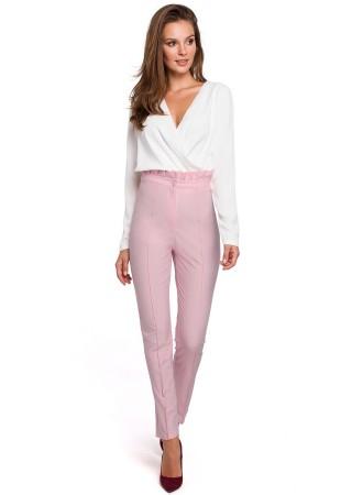 Bikses ar paaugstinātu vidukli gaiši rozā MK008-lilac Bikses, Legingi, Šorti Greetha